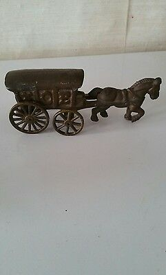 Vintage cast iron ice horse and buggy