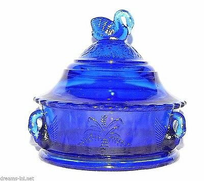 COBALT BLUE GLASS SWAN COVERED BUTTER DISH Swan In Rushes Westmoreland Mark