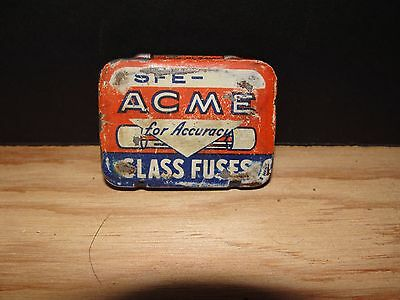 Vintage Acme Auto Car Glass Fuse Tin