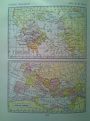 Maps of Roman Empire & Ancient Greece + West USSR from 1940s Encyclopedia