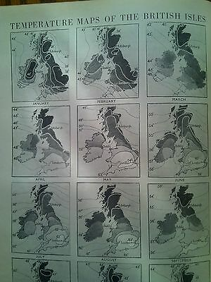 Temperatures in British Isles One Year Map 1940s Encyclopedia One Page 22x15cm