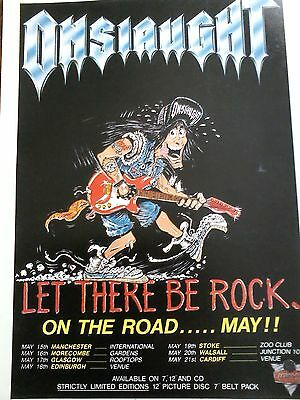 Onslaught Let There Be Rock...on the Road Tour Advert Single A4 Page to Frame?