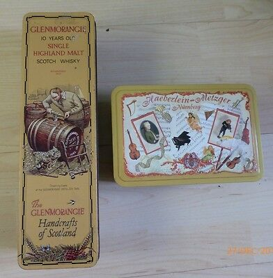 2 X Vintage Collectable Tin Whisky And Music Boxes