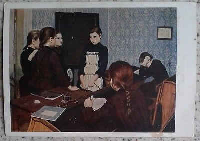 1935 SOVIET POSTCARD picture A new pupil by Shanks GIRLS IN THE CLASSROOM r 271a