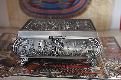 Vintage Unique Large Egyptian metal Jewelry Box  Mad in Egypt