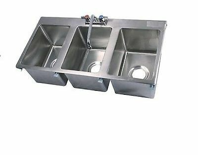 Commercial Stainless Steel 3 Compartment Drop In Sink NSF Certified with Faucet