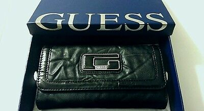 Cartera Piel Negra de Mujer by Guess - Black Leather Wallet Woman by Guess
