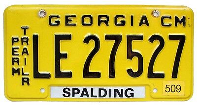 Georgia 1990s Permanent Trailer License Plate, LE 27527, Spalding County, Yellow