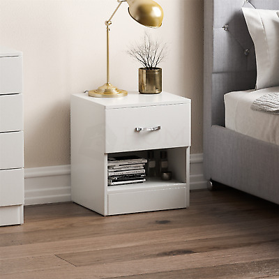 Riano Bedside Cabinet White 1 Drawer Metal Handles Runners Bedroom Furniture