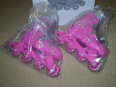 Young Girls Pink-Silver Adjustable Inline Roller-boots foot size 13 – 3