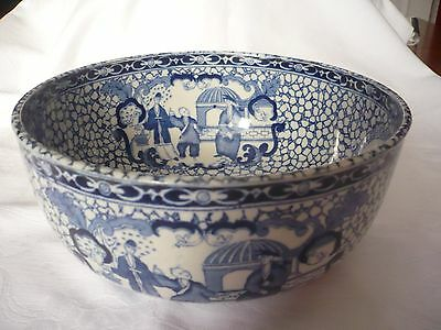 Antique Adams Staffordshire  Blue And White Oriental Style Bowl.perfect