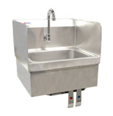 Stainless Steel Wall-Mount Hand Sink with Knee Valve, Faucet & Side Splashes