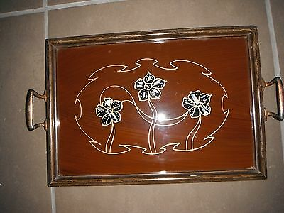 Art Nouveau Glazed Tea Tray With Mother Of Pearl Inlay. Copper Effect Handles.