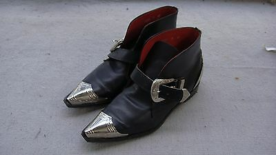 vintage JOHNSONS MEX TEX biker leather boots motorcycle silver black metal rocka