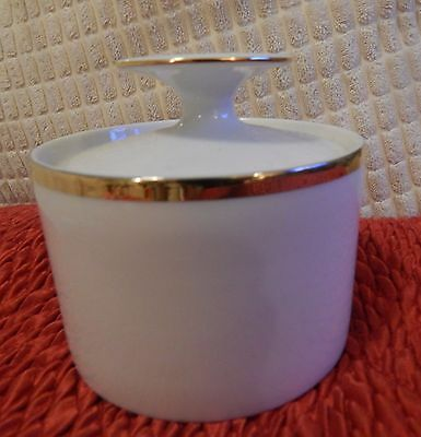 Lidded sugar bowl  -Thomas Germany White With Thick Gold Trim
