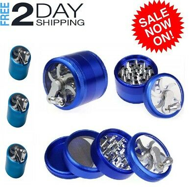 """Large Spice Tobacco Weed Grinder-4 Pcs 2.5"""" BEST + Mill Handle"""