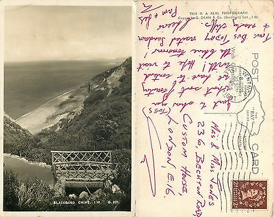 s09791 Blackgang Chine, Isle of Wight, England RP postcard posted 1955 stamp