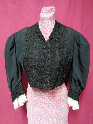 VICTORIAN BODICE or JACKET w BEADS & LACE - VERY WEARABLE - GOTH -  L - XL