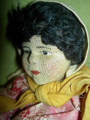 "Russian 1930s labeled,""Ziqanka"", cloth doll Soviet Union Russia stockinette USSR"