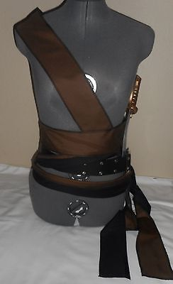 "New brown and black long wrap SCA renaissance pirate sash costume 128""by 2.5"""
