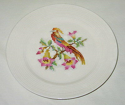 Leigh Potters Leigh Ware Cross-Stitch Cockatoo Design Salad Plate Set of 4