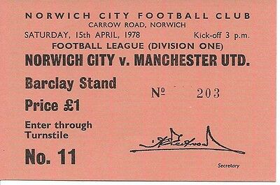 Norwich City V Manchester United 1977/1978 Ticket