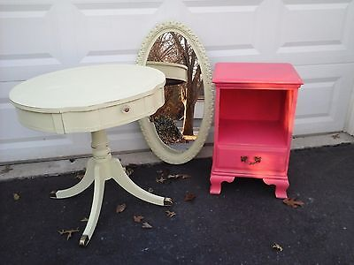vintage coral red nite stand / side table
