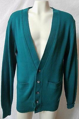 Men's Puritan Cardigan Sweater, Large, Dark Teal, Acrylic Made USA T5