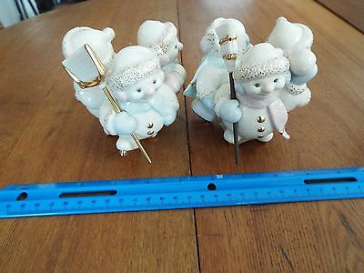Lenox SNOWLIGHT SKATING BY CANDLELIGHT Snowmen Candle Holders EUC $72
