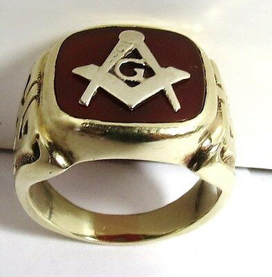 Vintage 14K Solid Gold Red Ruby Masonic Ring Mason 10.37 Grams Size 7.25