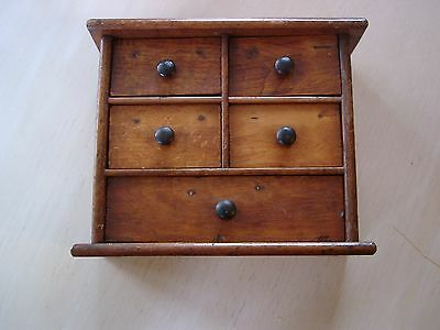 VINTAGE poss 1930's MINIATURE SOLID PINE WOOD CHEST OF DRAWERS,