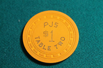 PJS $1 Table Two Casino Chip  New York