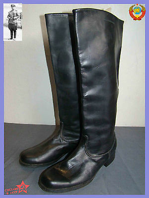 NOT USED  Sz.42 Soviet Chrome Leather Army Officer High Boots Riding