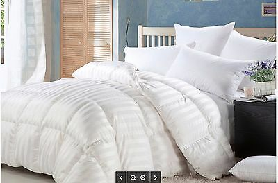 LUXURIOUS BAFFLE BOX Siberian GOOSE DOWN STRIPE Comforter 1200TC TWIN QUEEN KING