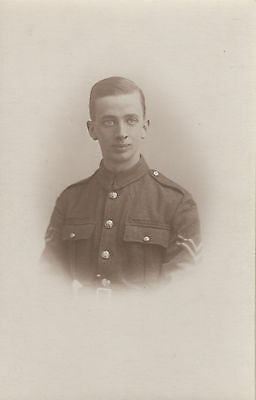 RPC Postcard: WW1 - Studio Portrait of a Young British Corporal - Dated Jan.1918