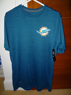 NWT Nike Miami Dolphins Blue Dri Fit Touch Performance T Shirt NFL