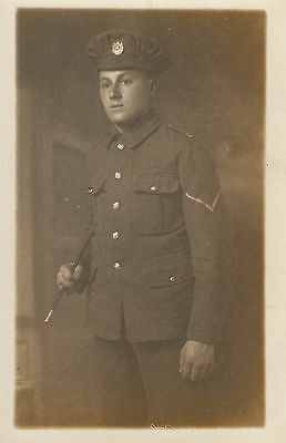RPC Postcard: WW1 - Studio Portrait of a Corps of Royal Engineers Corporal