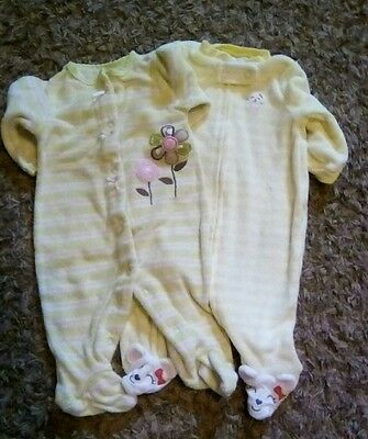 Two Carter's Size Newborn Girl's Striped Terry Outfits