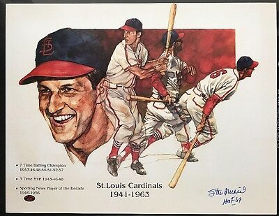 Stan Musial autographed Cardinals Poster signed HOF Baseball Art auto (STM COA)