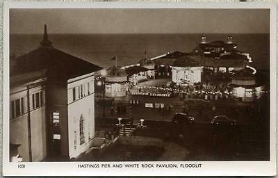 Hastings Pier and White Rock Pavilion, Floodlit, real photo