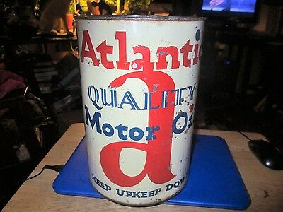 Vintage Early Rare Atlantic  5 Quart Oil Can, Very Nice Condition,No Reserve