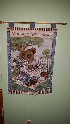 Boyds Bears Love Letters Large Tapestry Wall Hanging w Two Dowels