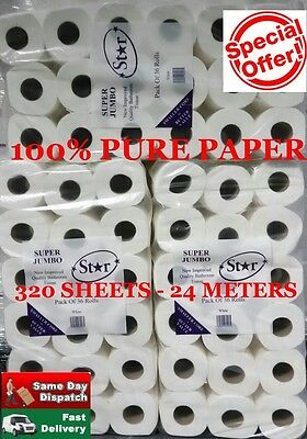 72 Toilet Rolls 2Ply Sheet Tissue Luxury Quilted Paper 2 Cases Super Jumbo
