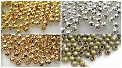 2,2.4,3,4,5,6 & 8mm Metal Spacer Beads - Silver, Gold & Bronze Plated - Choice
