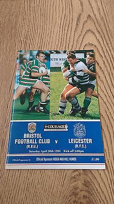 Bristol v Leicester April 1994 Rugby Union Programme