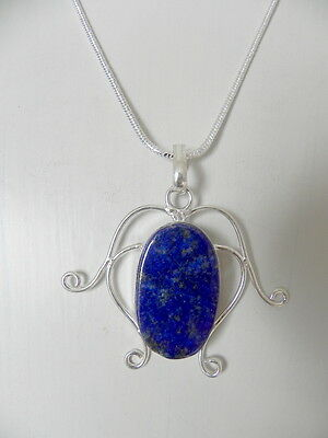 Natural Gemstone **blue Lapis Lazuli*pendant Sterling Silver 925 Chain