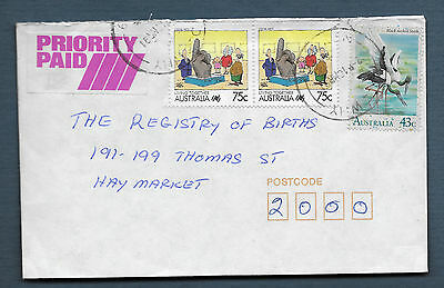 1991 DEE WHY NSW priority paid commercial cover Living Together Jabiru bird