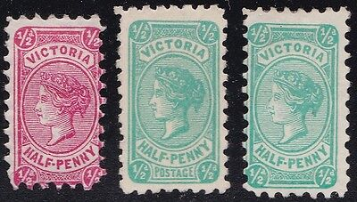 Stamp Australia - Victoria ½d Lot x 3 - Mint Hinged.