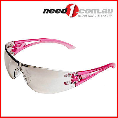 MACK  Safety Glasses Clear Mirror Lens Pink Vented Side Arms MEVX2  6 Pack