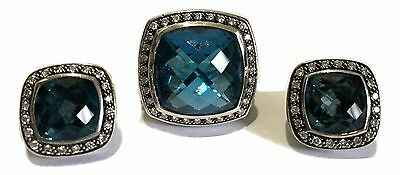 David Yurman Blue Topaz And Diamonds Albion Silver Ring And Earrings Set, $5400